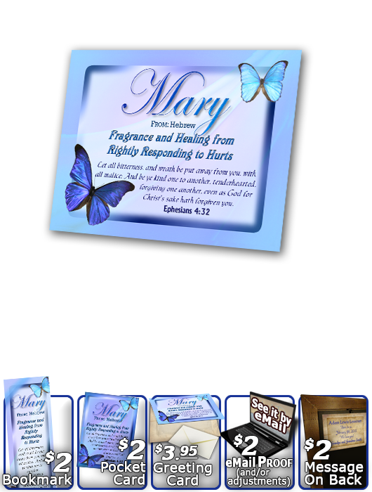 PL-BF02, Name Meaning Print,  Framed, Bible Verse butterfly blue mary
