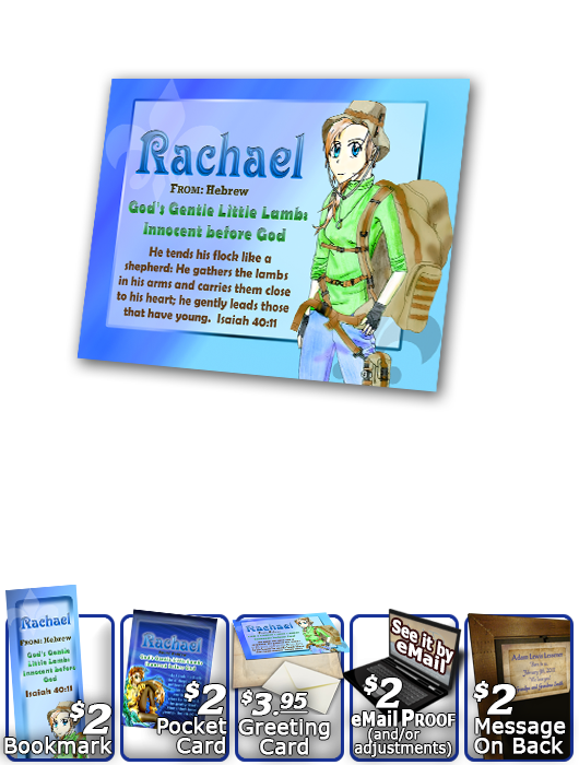 PL-CH44, Name Meaning Print,  Framed, Bible Verse, personalized, anime character rachael
