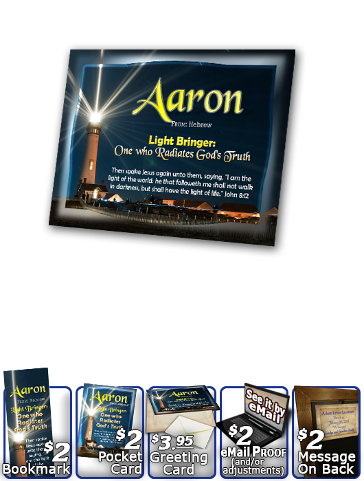 PL-LH16, Name Meaning Print,  Framed, Bible Verse, personalized, lighthouse light shine aaron