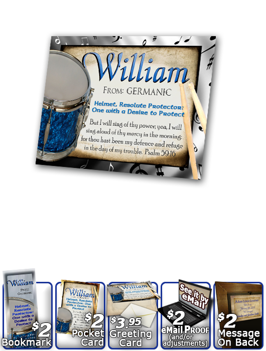 PL-MU02, Name Meaning Print,  Framed, Bible Verse, personalized, music notes william drums