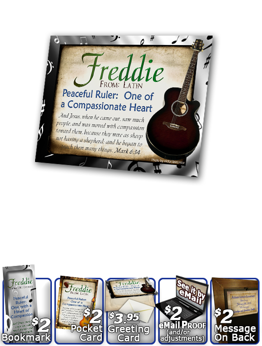 PL-MU15, Name Meaning Print,  Framed, Bible Verse, personalized, music notes freddie fred frederick guitar acoustic