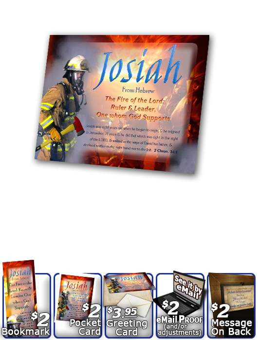 PL-PP23, Name Meaning Print,  Framed, Bible Verse, personalized, bravery courage fireman firefighter fire josiah