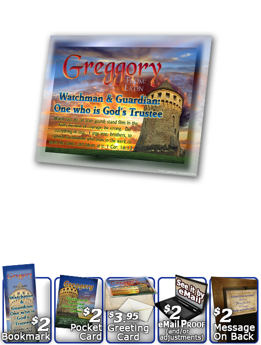 PL-SC02, Name Meaning Print,  Framed, Bible Verse, personalized, scenery castle keep greggory