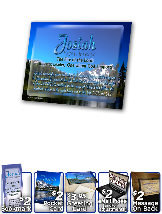 PL-SC07, Name Meaning Print,  Framed, Bible Verse, personalized, josiah mountains lake scenery