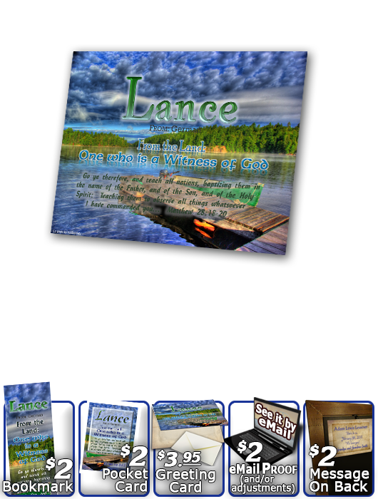 PL-SC10, Name Meaning Print,  Framed, Bible Verse, personalized, lance dock lake peace