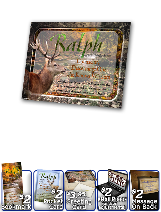 PL-SC46, Name Meaning Print,  Framed, Bible Verse, personalized, buck deer elk hunt hunter ralph