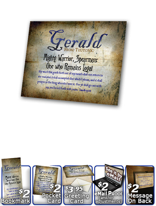 PL-SM16, Name Meaning Print,  Framed, Bible Verse, personalized, old ancient grunge secret gerald