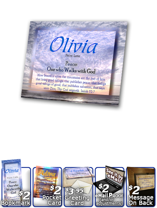 PL-SS15, Name Meaning Print,  Framed, Bible Verse, personalized, ocean, sunset, olivia