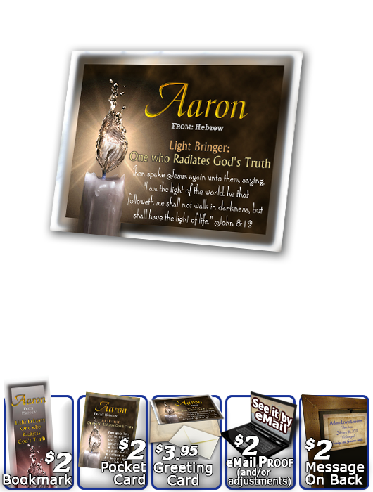 PL-SY25, Name Meaning Print,  Framed, Bible Verse, personalized, aaron light water candle
