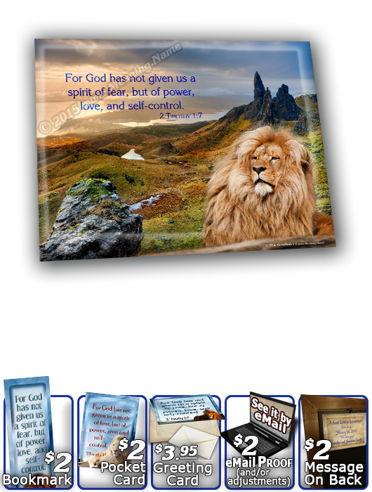 SG-8x10-AN06, Large 10x12 Plaque with Custom Bible Verse  lion, bravery courage, 2 Timothy 1:7