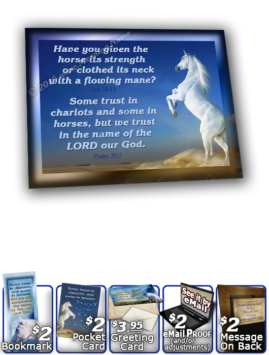 SG-8x10-AN26, Large 10x12 Plaque with Custom Bible Verse  white horse, Psalm 20:7, Job 39:19