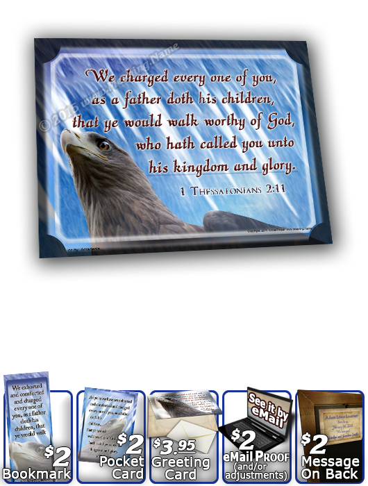 SG-8x10-AN47, Large 10x12 Plaque with Custom Bible Verse eagle hawk bird, 1 Thessalonians 2:11