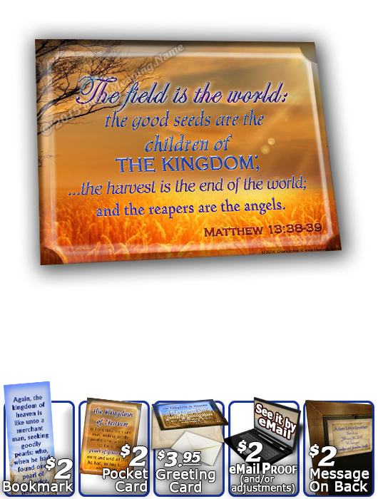 SG-8x10-GR01, Large 10x12 Plaque with Custom Bible Verse, personalized,  grain field harvest, Matthew 13:44.