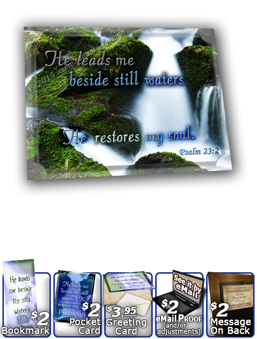 SG-8x10-WA02, Large 10x12 Plaque with Custom Bible Verse, personalized, still waters waterfall, Psalm 23:2