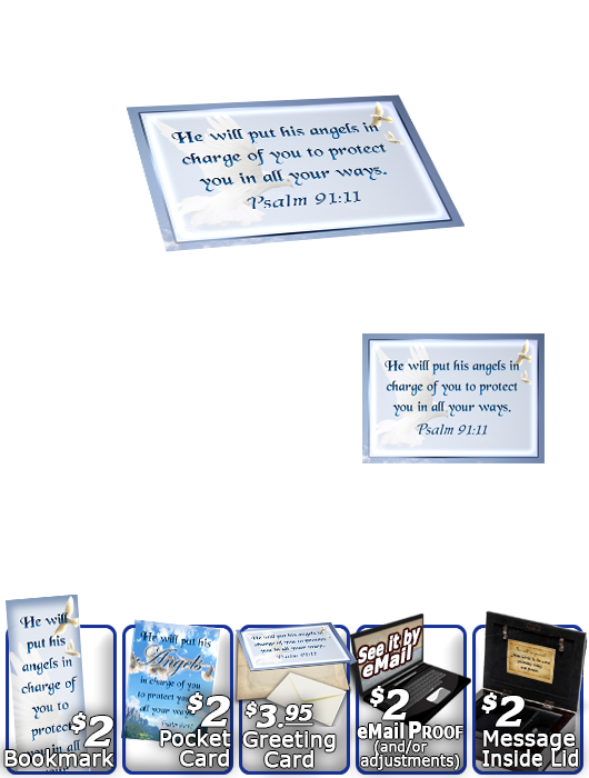 SG-MB-AN15, Custom Bible Verse on a Music Box, Bible Verse  dove peace angels, Psalm 91:11