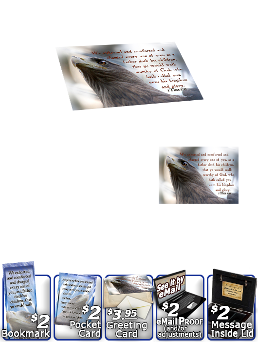 SG-MB-AN47, Custom Bible Verse on a Music Box, Bible Verse eagle hawk bird, 1 Thessalonians 2:11