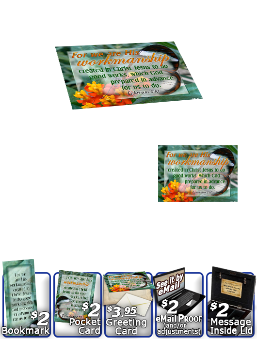 SG-MB-BF13, Custom Bible Verse on a Music Box, Bible Verse butterfly  green garden, Ephesians 2:10