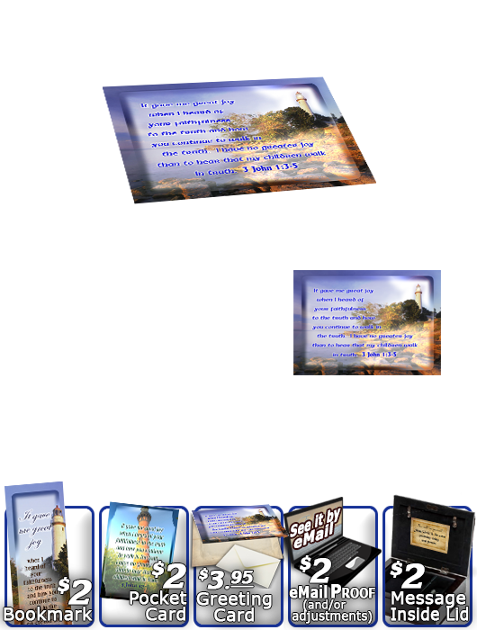 SG-MB-LH38, Custom Bible Verse on a Music Box, Bible Verse, personalized, lighthouse light, 3 John 1:3-5