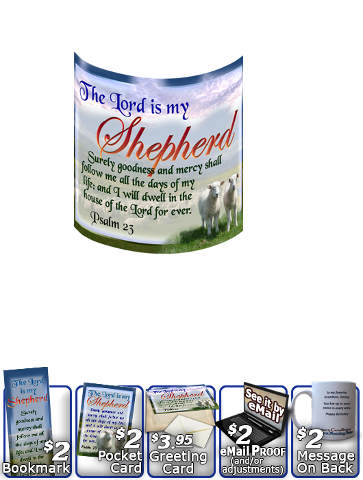 SG-MU-AN03, Coffee Mug with Custom Bible Verse two lambs sheep, Psalm 23, Shepherd