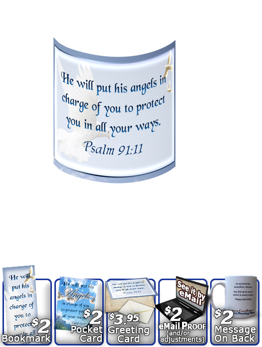 SG-MU-AN15, Coffee Mug with Custom Bible Verse  dove peace angels, Psalm 91:11