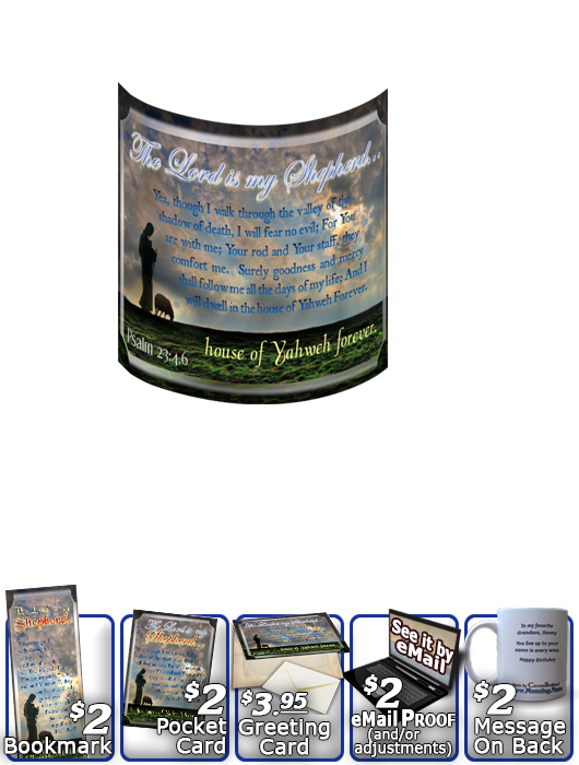 SG-MU-AN34, Coffee Mug with Custom Bible Verse memorial remembrance  shepherd sheep lamb, Psalm 32:4,6