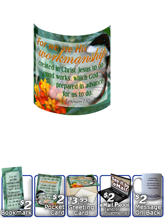 SG-MU-BF13, Coffee Mug with Custom Bible Verse butterfly  green garden, Ephesians 2:10