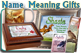 Name meaning Plaques, coffee mugs, music boxes, personalized