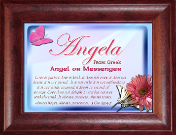 Angela's Name Meaning Plaque